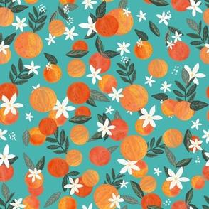 """18"""" Happy Oranges - Turquoise"""