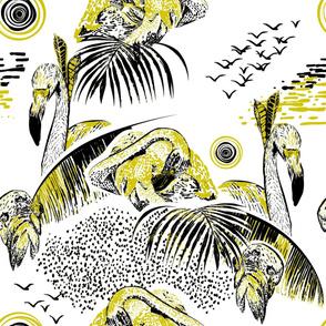Tropical large scale flamingos by kreativkollektiv