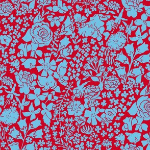 hand printed blue and red flower meadow