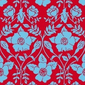 red and blue dogwood rose