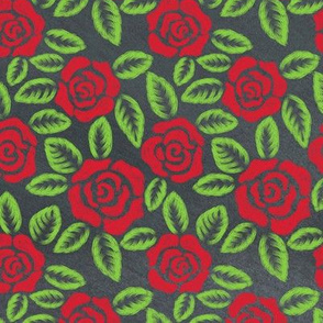 Chalkboard Roses Floral Pattern on Gray