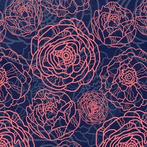 Pink Rose Outline Modern Floral Pattern