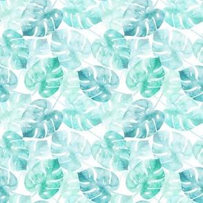 Watercolor Monstera Mint - xs