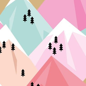 Abstract geometric winter snow topped mountains minimal climbing theme colorful pink pastels girls JUMBO