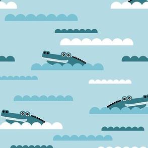 Sweet crocodile river island blue waves and cute animals blue boys