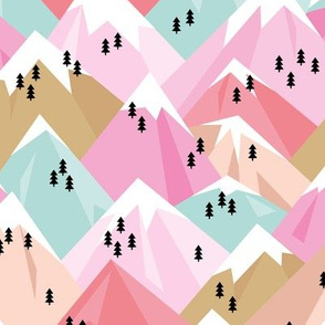 Abstract geometric winter snow topped mountains minimal climbing theme colorful pink pastels girls