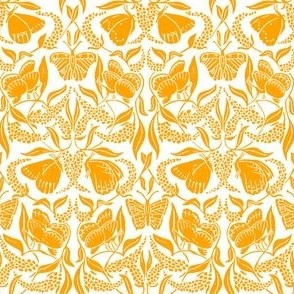 Mustard yellow linoprint butterflies