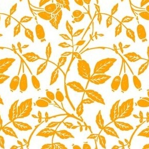mustard yellow linoprint rosehips