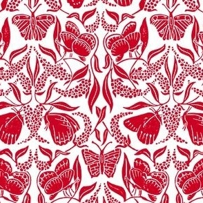Red linoprint butterfly damask