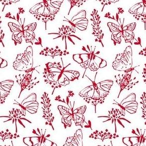 Linoprint butterfly swarm