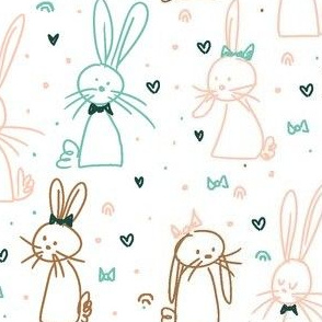 Doodle bunnies in bows and bowties