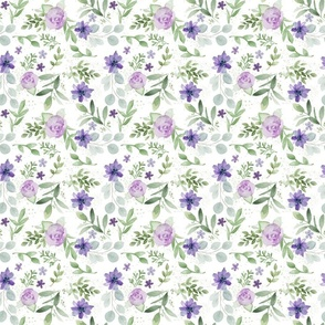 Small repeat Purple and Violet Watercolor Flowers