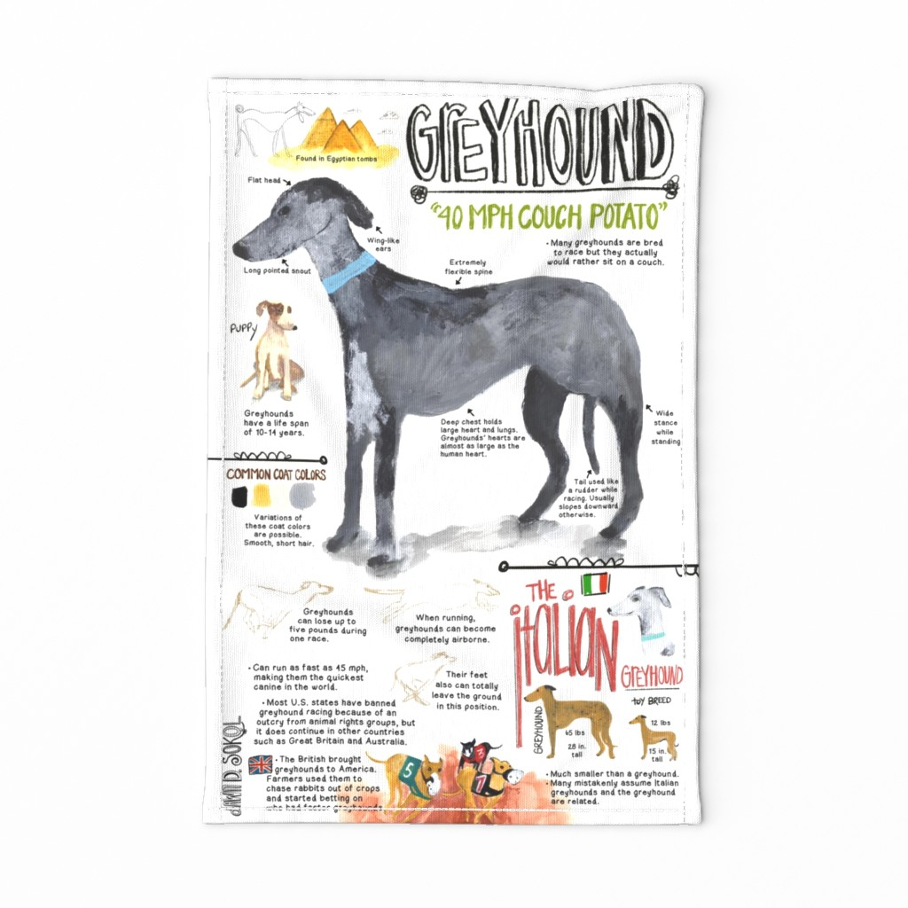 Special Edition Spoonflower Tea Towel featuring Greyhoundtowel by dawndsokol