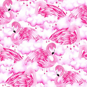 Dreamy Pink Flamingos in Clouds