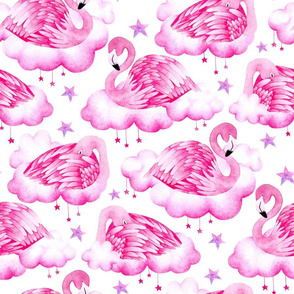 Dreamy Pink Flamingos in Watercolor