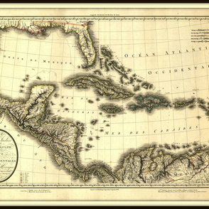 French map of the Caribbean - antique, yard