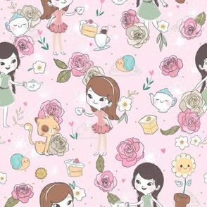 Tea Party - Medium Print - Pink