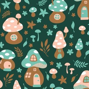Fairy Toadstool Houses Green