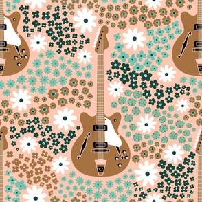 60s Ditsy Floral with Guitars- Limited Palette