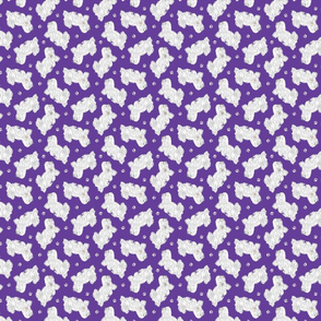 Tiny Trotting Coton de Tulear and paw prints - purple