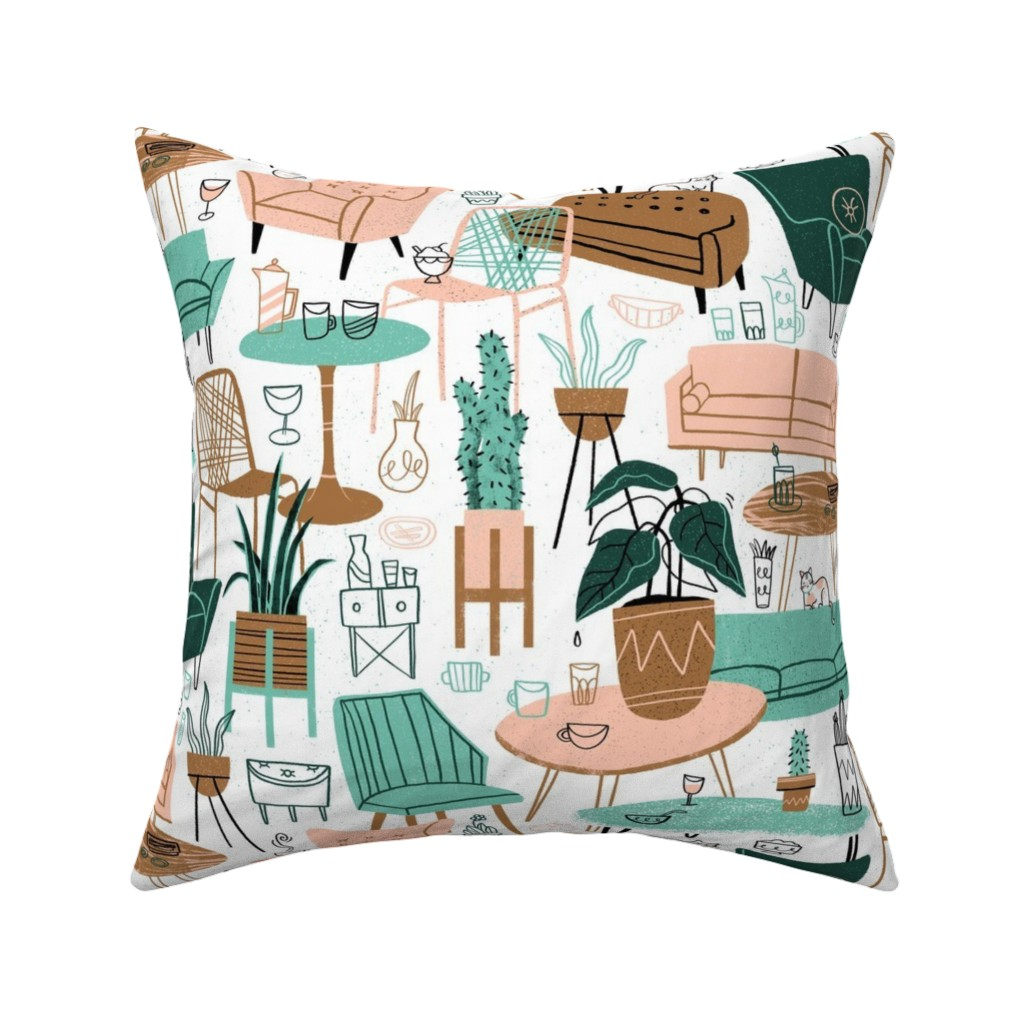 Catalan Throw Pillow featuring Retro Living Room by juliagreenillustration