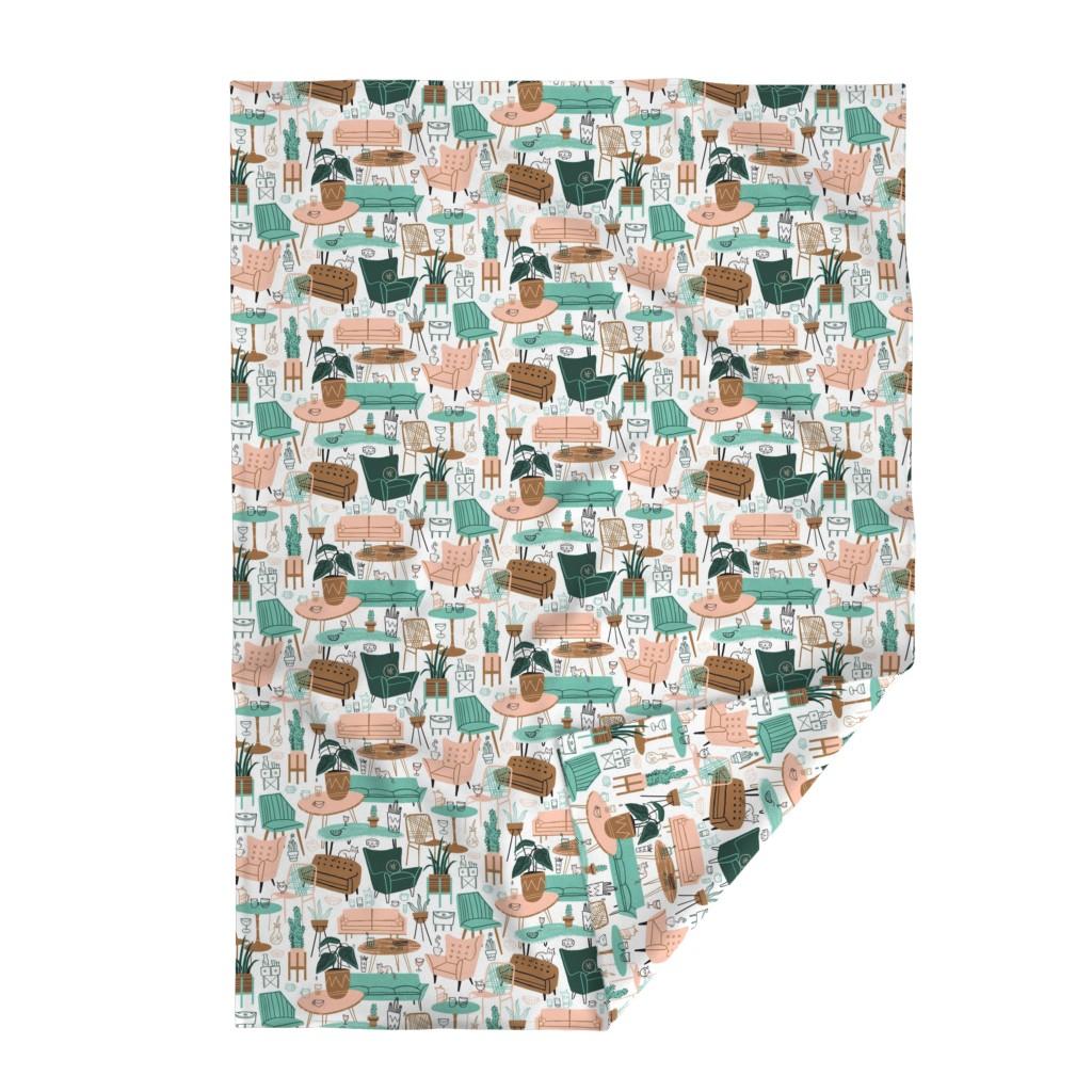 Lakenvelder Throw Blanket featuring Retro Living Room by juliagreenillustration