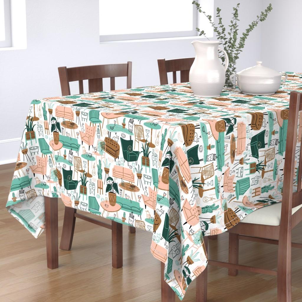 Bantam Rectangular Tablecloth featuring Retro Living Room by juliagreenillustration