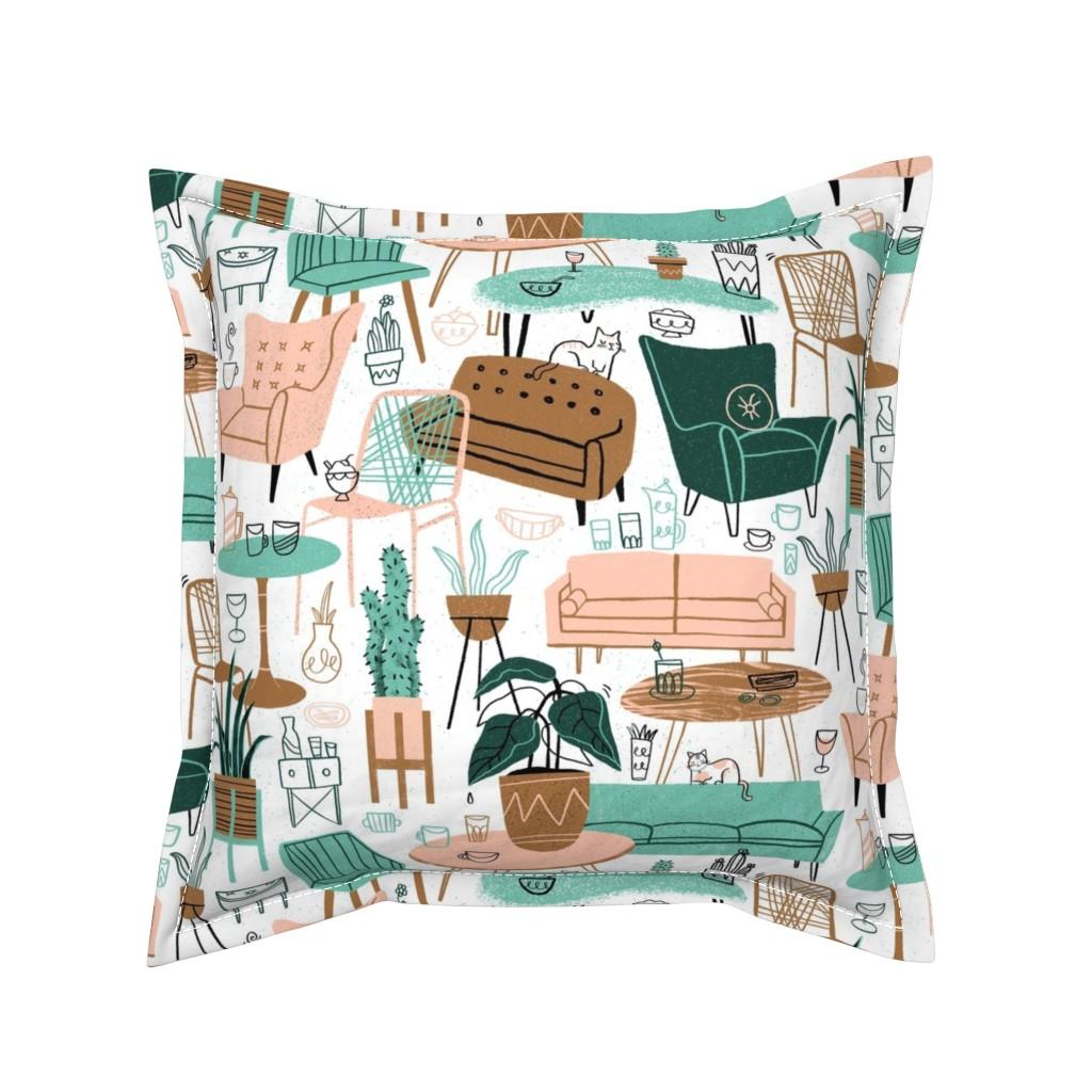Serama Throw Pillow featuring Retro Living Room by juliagreenillustration