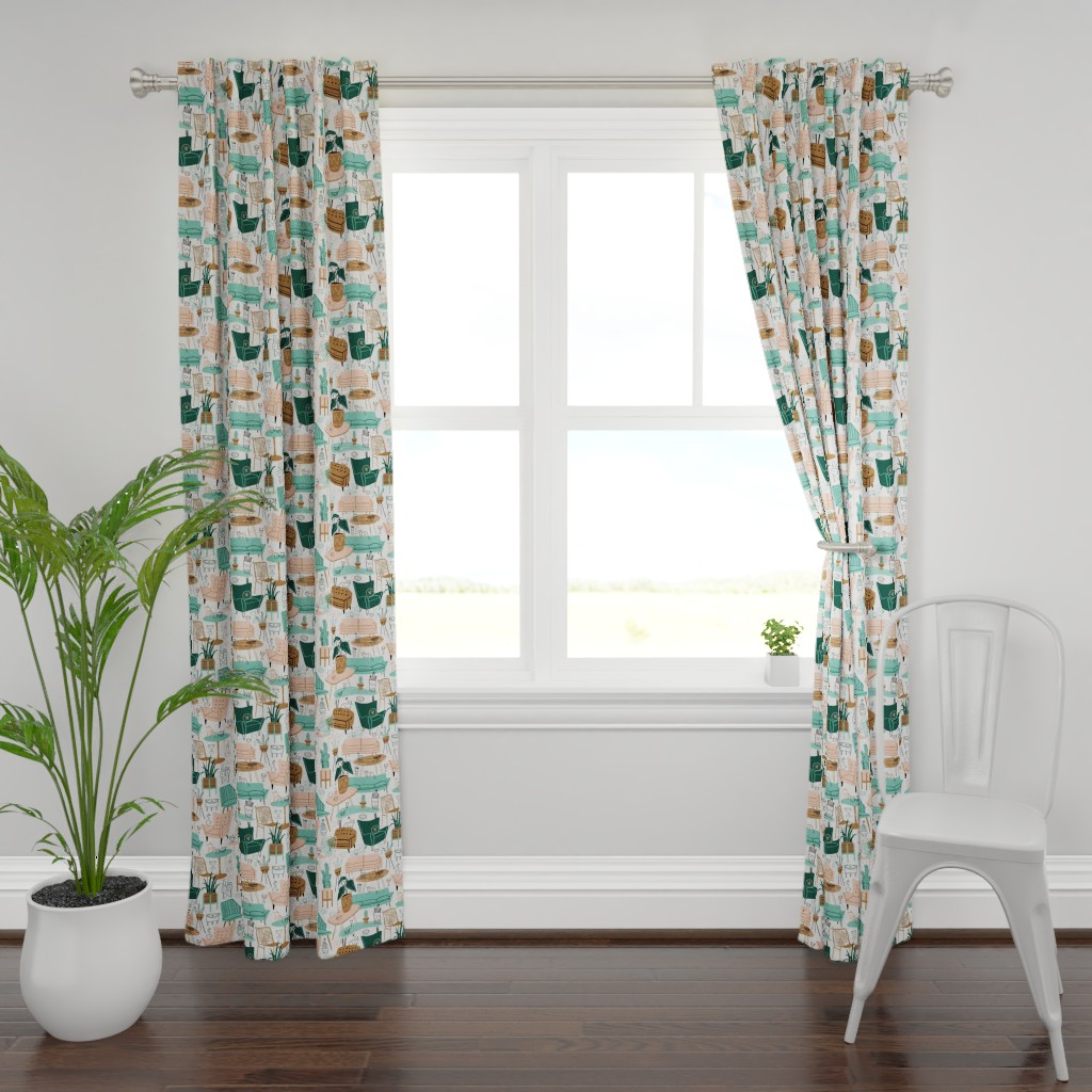 Plymouth Curtain Panel featuring Retro Living Room by juliagreenillustration