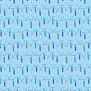 Rows of bikes on a bright blue background