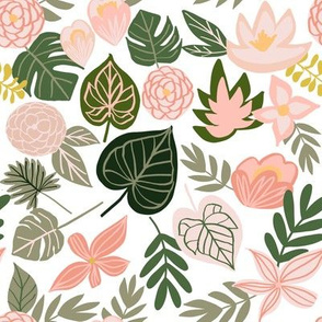 Late Summer Tropical Floral + Leaves