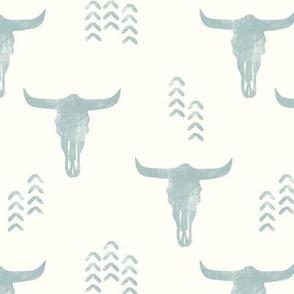 desert skulls - boho - southwest cow skull - dusty blue on cream - LAD19