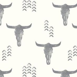 desert skulls - boho - southwest cow skull - grey on cream - LAD19