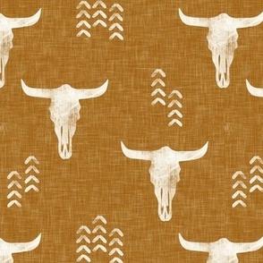 desert skulls - boho - southwest cow skull - gold - LAD19