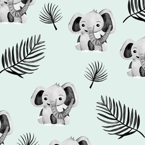 Little elephant friends adorable boho style kawaii nursery print soft mint gray spring