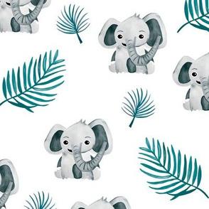 Little elephant friends adorable boho style kawaii nursery print soft gray blue winter