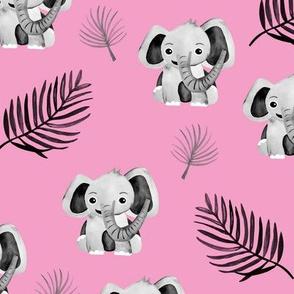 Little elephant friends adorable boho style kawaii nursery print summer fall pink girls