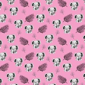 Little elephant friends adorable boho style kawaii nursery print summer fall pink girls SMALL