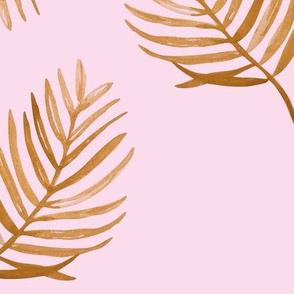 Tropical watercolors palm leaves summer ferm leaf swim beach spring pink cinnamon copper JUMBO