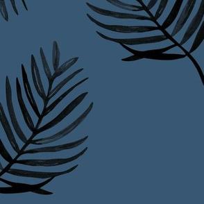 Tropical watercolors palm leaves summer ferm leaf swim beach winter navy blue boys JUMBO