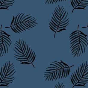 Tropical watercolors palm leaves summer ferm leaf swim beach winter navy blue boys