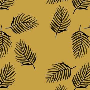 Tropical watercolors palm leaves summer ferm leaf swim beach summer ochre yellow