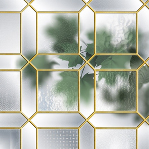 Glass Partition & Foliage (Brass/Grey)