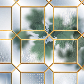 Glass Partition & Foliage (Gold/Blue)