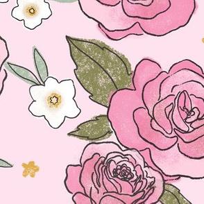 Pink Roses - Large Print