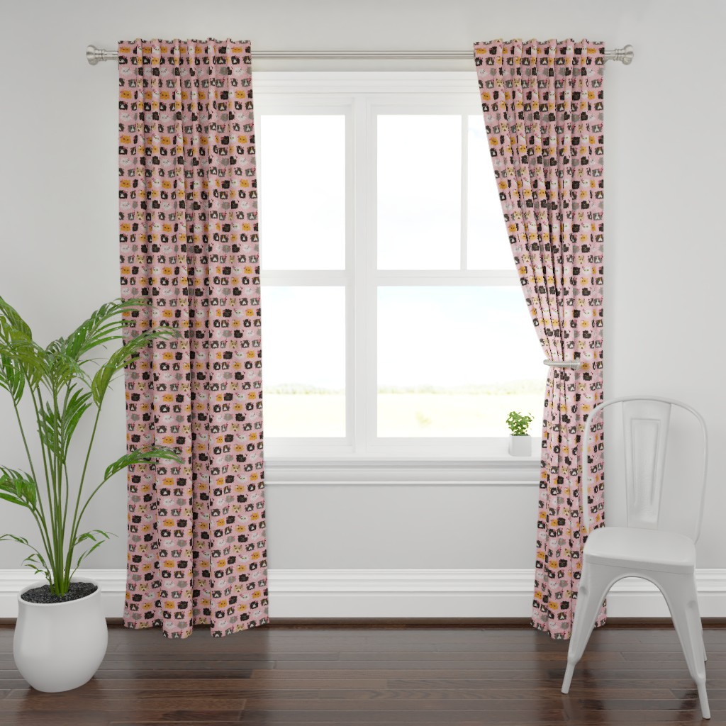 Plymouth Curtain Panel featuring Fancy Persian Cats - Pink by jannasalak