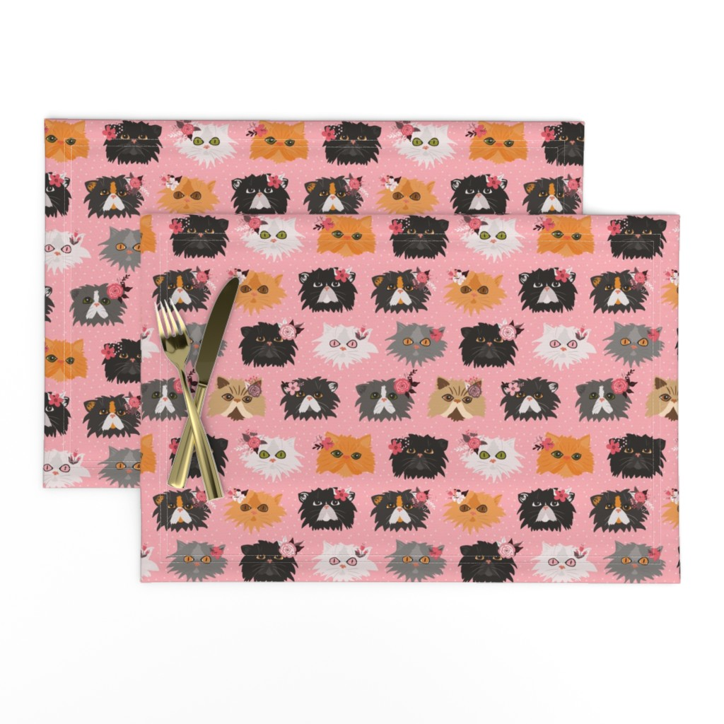 Lamona Cloth Placemats featuring Fancy Persian Cats - Pink by jannasalak