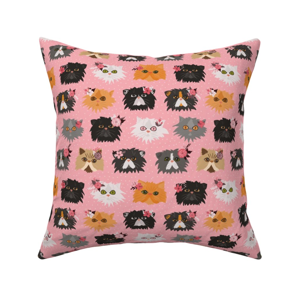 Catalan Throw Pillow featuring Fancy Persian Cats - Pink by jannasalak