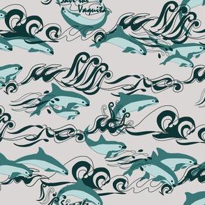 Save The Vaquita Teal on Gray