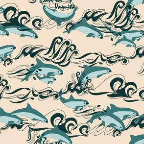 Save The Vaquita Teal on Cream